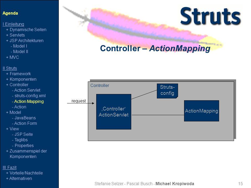 15 Controller – ActionMapping Stefanie Selzer - Pascal Busch - Michael Kropiwoda Agenda I Einleitung + Dynamische Seiten + Servlets + JSP Architekture