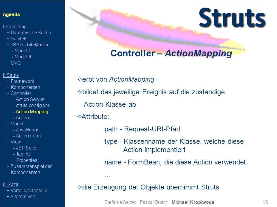 16 Controller – ActionMapping Stefanie Selzer - Pascal Busch - Michael Kropiwoda erbt von ActionMapping bildet das jeweilige Ereignis auf die zuständi