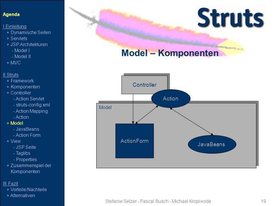 Controller 19 Model – Komponenten Stefanie Selzer - Pascal Busch - Michael Kropiwoda Agenda I Einleitung + Dynamische Seiten + Servlets + JSP Architek