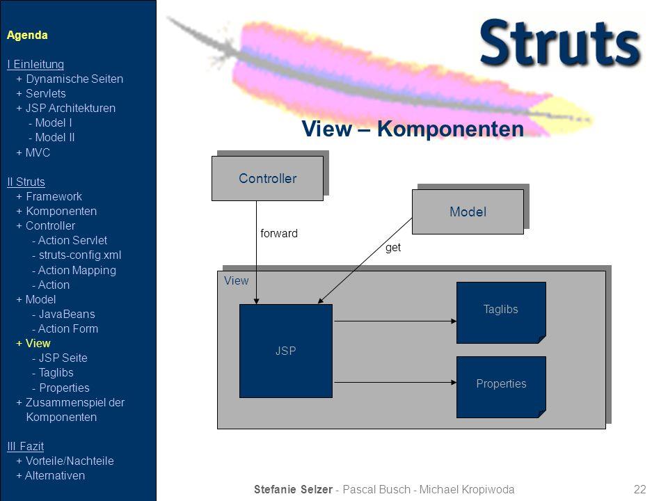 22 View – Komponenten Stefanie Selzer - Pascal Busch - Michael Kropiwoda Agenda I Einleitung + Dynamische Seiten + Servlets + JSP Architekturen - Mode