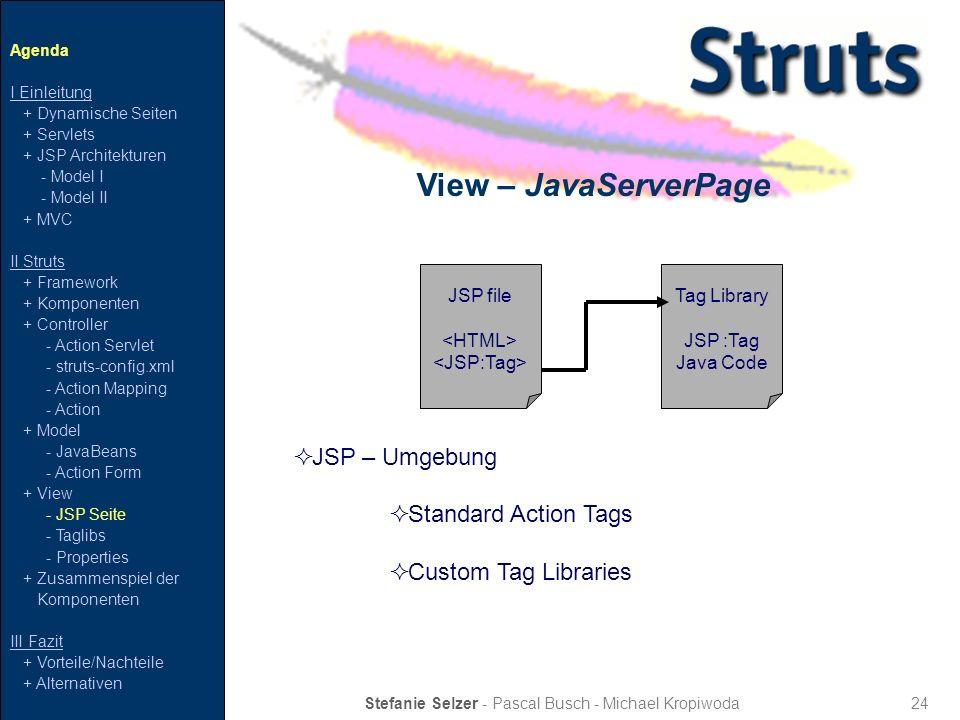 24 View – JavaServerPage Stefanie Selzer - Pascal Busch - Michael Kropiwoda Agenda I Einleitung + Dynamische Seiten + Servlets + JSP Architekturen - M