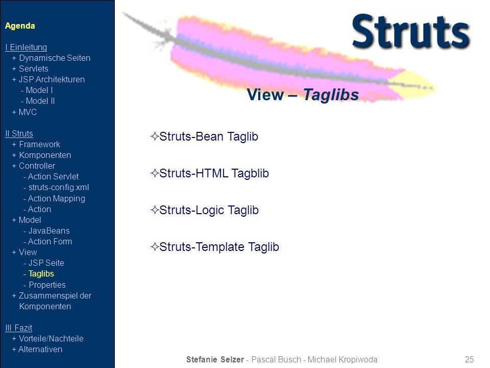 25 View – Taglibs Stefanie Selzer - Pascal Busch - Michael Kropiwoda Agenda I Einleitung + Dynamische Seiten + Servlets + JSP Architekturen - Model I