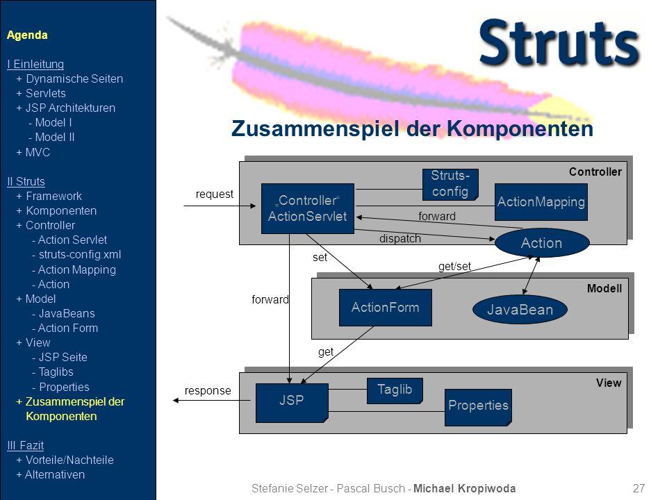 27 Zusammenspiel der Komponenten Stefanie Selzer - Pascal Busch - Michael Kropiwoda Agenda I Einleitung + Dynamische Seiten + Servlets + JSP Architekt