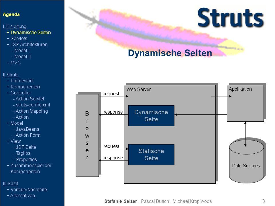4 Servlet Stefanie Selzer - Pascal Busch - Michael Kropiwoda Client Servlet request response Web Server Data Sources Enterprise Server Agenda I Einleitung + Dynamische Seiten + Servlets + JSP Architekturen - Model I - Model II + MVC II Struts + Framework + Komponenten + Controller - Action Servlet - struts-config.xml - Action Mapping - Action + Model - JavaBeans - Action Form + View - JSP Seite - Taglibs - Properties + Zusammenspiel der Komponenten III Fazit + Vorteile/Nachteile + Alternativen serverseitige Java-Komponente verschiedene Ausgabeformate möglich