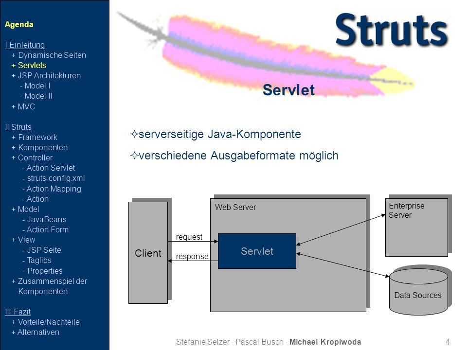 5 JSP Model I Stefanie Selzer - Pascal Busch - Michael Kropiwoda BrowserBrowser BrowserBrowser JSP Seite JavaBean request response Web Server Data Sources Enterprise Server Agenda I Einleitung + Dynamische Seiten + Servlets + JSP Architekturen - Model I - Model II + MVC II Struts + Framework + Komponenten + Controller - Action Servlet - struts-config.xml - Action Mapping - Action + Model - JavaBeans - Action Form + View - JSP Seite - Taglibs - Properties + Zusammenspiel der Komponenten III Fazit + Vorteile/Nachteile + Alternativen
