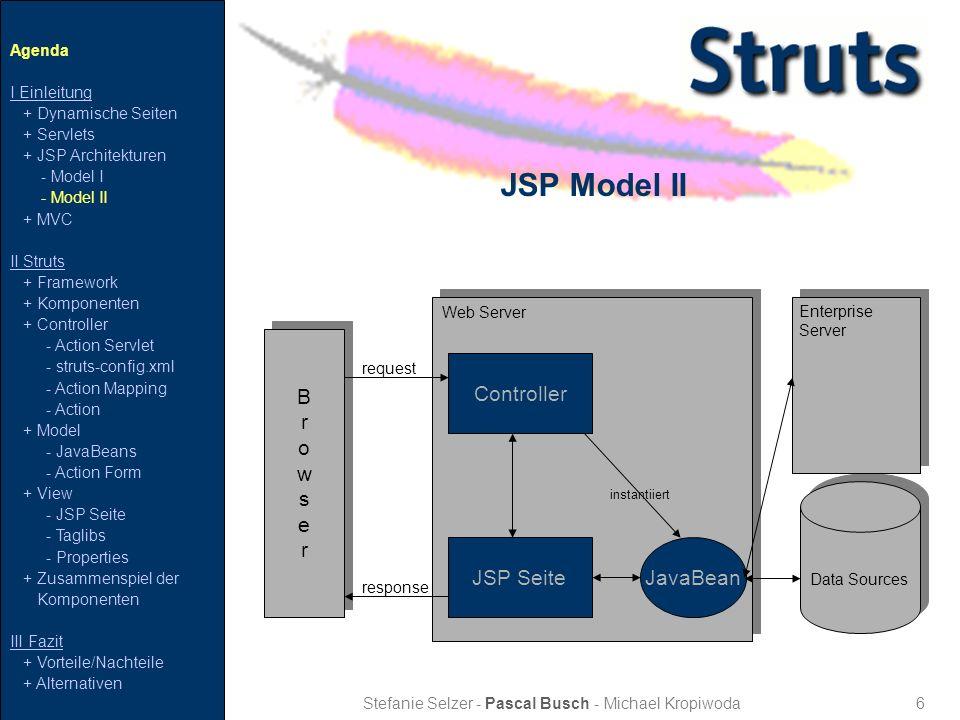 27 Zusammenspiel der Komponenten Stefanie Selzer - Pascal Busch - Michael Kropiwoda Agenda I Einleitung + Dynamische Seiten + Servlets + JSP Architekturen - Model I - Model II + MVC II Struts + Framework + Komponenten + Controller - Action Servlet - struts-config.xml - Action Mapping - Action + Model - JavaBeans - Action Form + View - JSP Seite - Taglibs - Properties + Zusammenspiel der Komponenten III Fazit + Vorteile/Nachteile + Alternativen Struts- config Controller Action JavaBean JSP response request Taglib Properties ActionMapping forward set get dispatch get/set Modell View ActionForm Controller ActionServlet forward