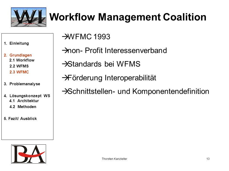 Thorsten Kanzleiter13 Workflow Management Coalition WFMC 1993 non- Profit Interessenverband Standards bei WFMS Förderung Interoperabilität Schnittstel