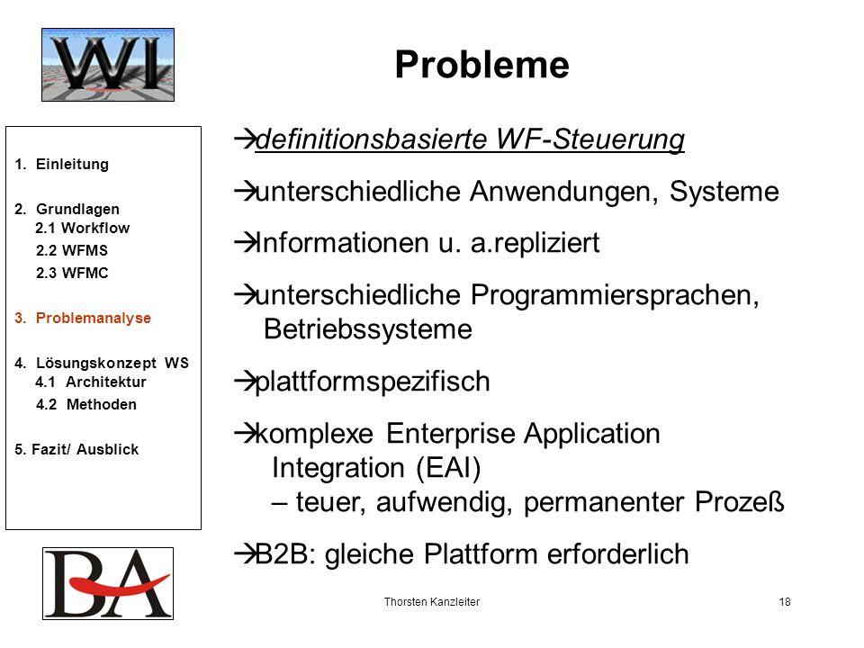 Thorsten Kanzleiter18 Probleme definitionsbasierte WF-Steuerung unterschiedliche Anwendungen, Systeme Informationen u. a.repliziert unterschiedliche P