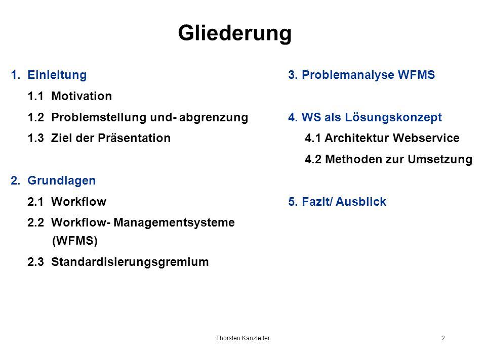 Thorsten Kanzleiter2 Gliederung 1. Einleitung 1.1 Motivation 1.2 Problemstellung und- abgrenzung 1.3 Ziel der Präsentation 2. Grundlagen 2.1 Workflow