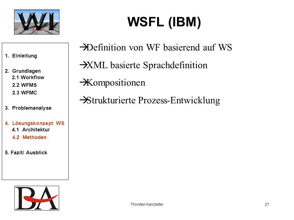 Thorsten Kanzleiter27 WSFL (IBM) Definition von WF basierend auf WS XML basierte Sprachdefinition Kompositionen Strukturierte Prozess-Entwicklung 1. E
