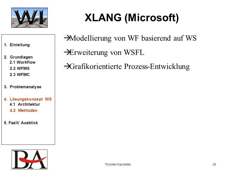 Thorsten Kanzleiter28 XLANG (Microsoft) Modellierung von WF basierend auf WS Erweiterung von WSFL Grafikorientierte Prozess-Entwicklung 1. Einleitung