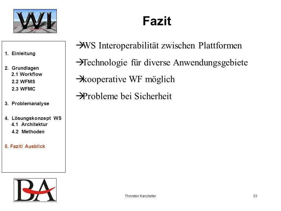 Thorsten Kanzleiter33 Fazit WS Interoperabilität zwischen Plattformen Technologie für diverse Anwendungsgebiete kooperative WF möglich Probleme bei Si