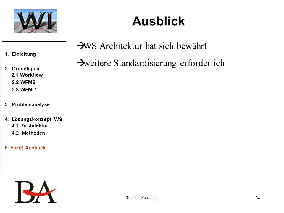 Thorsten Kanzleiter34 Ausblick WS Architektur hat sich bewährt weitere Standardisierung erforderlich 1. Einleitung 2. Grundlagen 2.1 Workflow 2.2 WFMS