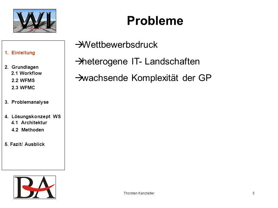 Thorsten Kanzleiter5 Probleme Wettbewerbsdruck heterogene IT- Landschaften wachsende Komplexität der GP 1. Einleitung 2. Grundlagen 2.1 Workflow 2.2 W