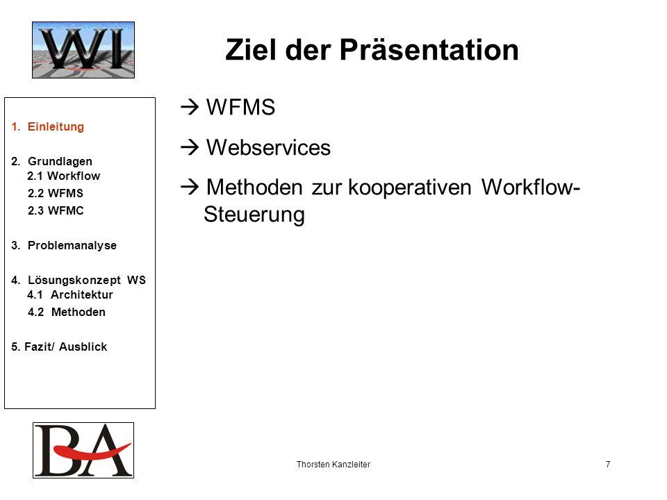 Thorsten Kanzleiter7 Ziel der Präsentation WFMS Webservices Methoden zur kooperativen Workflow- Steuerung 1. Einleitung 2. Grundlagen 2.1 Workflow 2.2