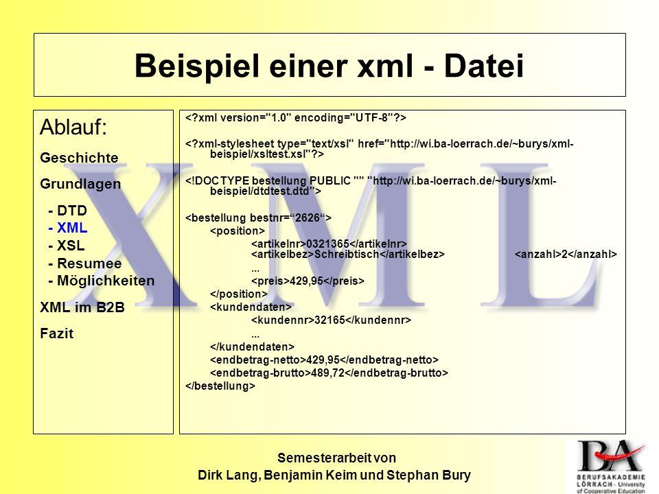 Beispiel einer xml - Datei 0321365 Schreibtisch 2... 429,95 32165... 429,95 489,72 Semesterarbeit von Dirk Lang, Benjamin Keim und Stephan Bury Ablauf