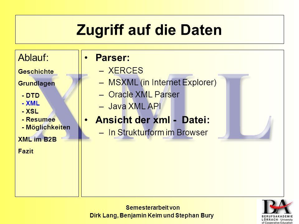 Zugriff auf die Daten Parser: –XERCES –MSXML (in Internet Explorer) –Oracle XML Parser –Java XML API Ansicht der xml - Datei: –In Strukturform im Brow