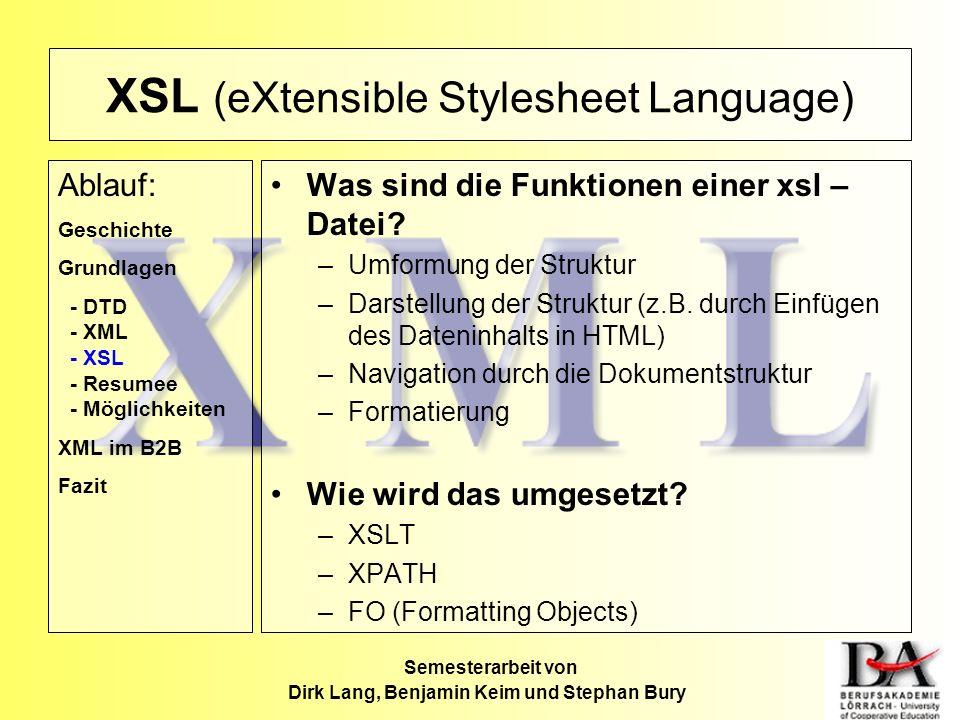 XSL (eXtensible Stylesheet Language) Was sind die Funktionen einer xsl – Datei? –Umformung der Struktur –Darstellung der Struktur (z.B. durch Einfügen