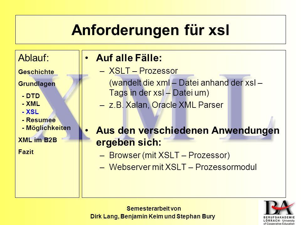 Anforderungen für xsl Auf alle Fälle: –XSLT – Prozessor (wandelt die xml – Datei anhand der xsl – Tags in der xsl – Datei um) –z.B. Xalan, Oracle XML
