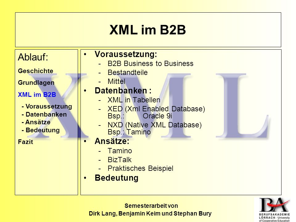 XML im B2B Voraussetzung: -B2B Business to Business -Bestandteile -Mittel Datenbanken : -XML in Tabellen -XED (Xml Enabled Database) Bsp.:Oracle 9i -N