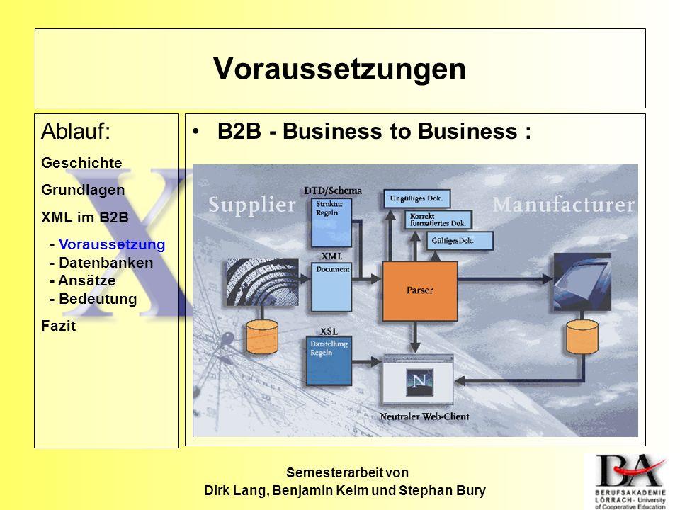 Semesterarbeit von Dirk Lang, Benjamin Keim und Stephan Bury B2B - Business to Business : Voraussetzungen Ablauf: Geschichte Grundlagen XML im B2B - V