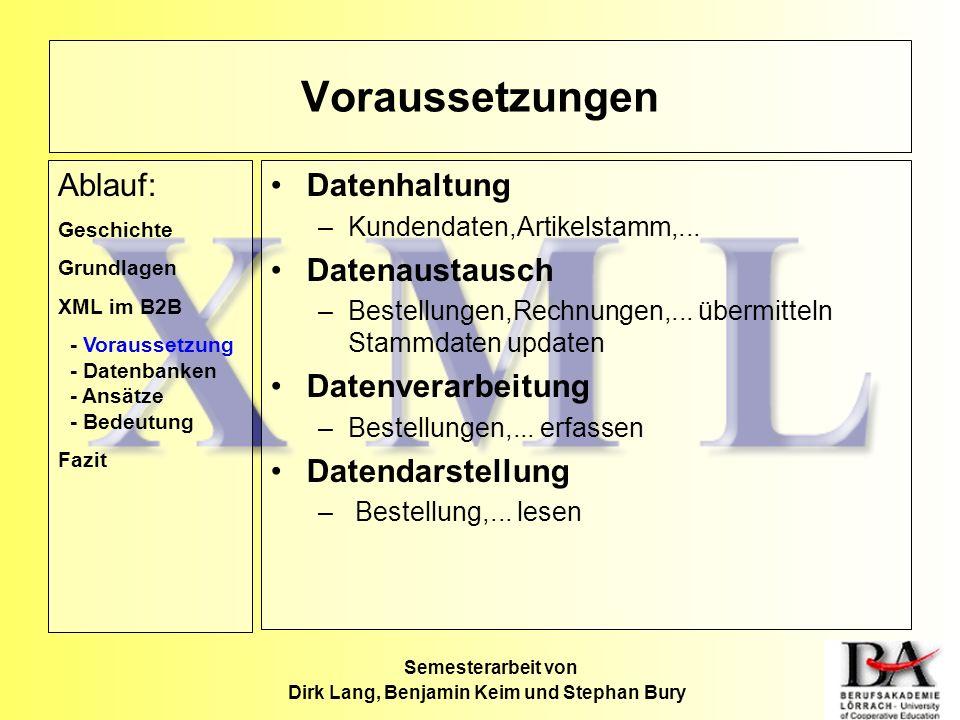 Semesterarbeit von Dirk Lang, Benjamin Keim und Stephan Bury Datenhaltung –Kundendaten,Artikelstamm,... Datenaustausch –Bestellungen,Rechnungen,... üb