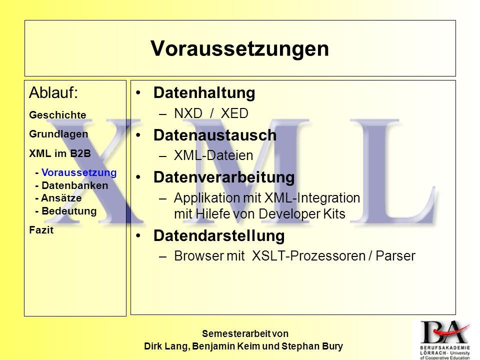 Semesterarbeit von Dirk Lang, Benjamin Keim und Stephan Bury Datenhaltung –NXD / XED Datenaustausch –XML-Dateien Datenverarbeitung –Applikation mit XM