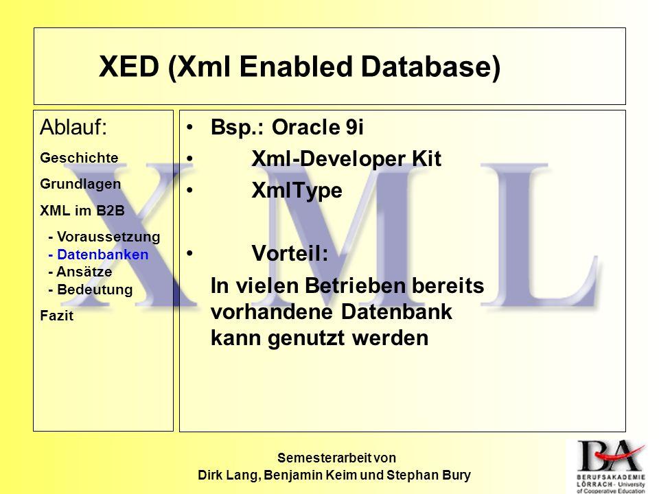 Semesterarbeit von Dirk Lang, Benjamin Keim und Stephan Bury Bsp.: Oracle 9i Xml-Developer Kit XmlType Vorteil: In vielen Betrieben bereits vorhandene