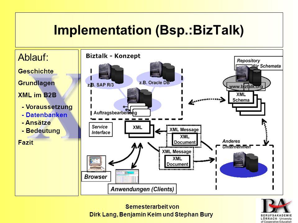 Semesterarbeit von Dirk Lang, Benjamin Keim und Stephan Bury Implementation (Bsp.:BizTalk) Ablauf: Geschichte Grundlagen XML im B2B - Voraussetzung -