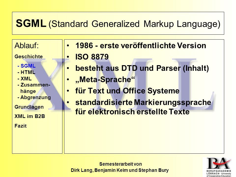 SGML (Standard Generalized Markup Language) 1986 - erste veröffentlichte Version ISO 8879 besteht aus DTD und Parser (Inhalt) Meta-Sprache für Text un