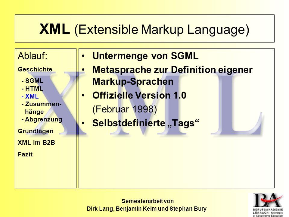 XML (Extensible Markup Language) Untermenge von SGML Metasprache zur Definition eigener Markup-Sprachen Offizielle Version 1.0 (Februar 1998) Selbstde
