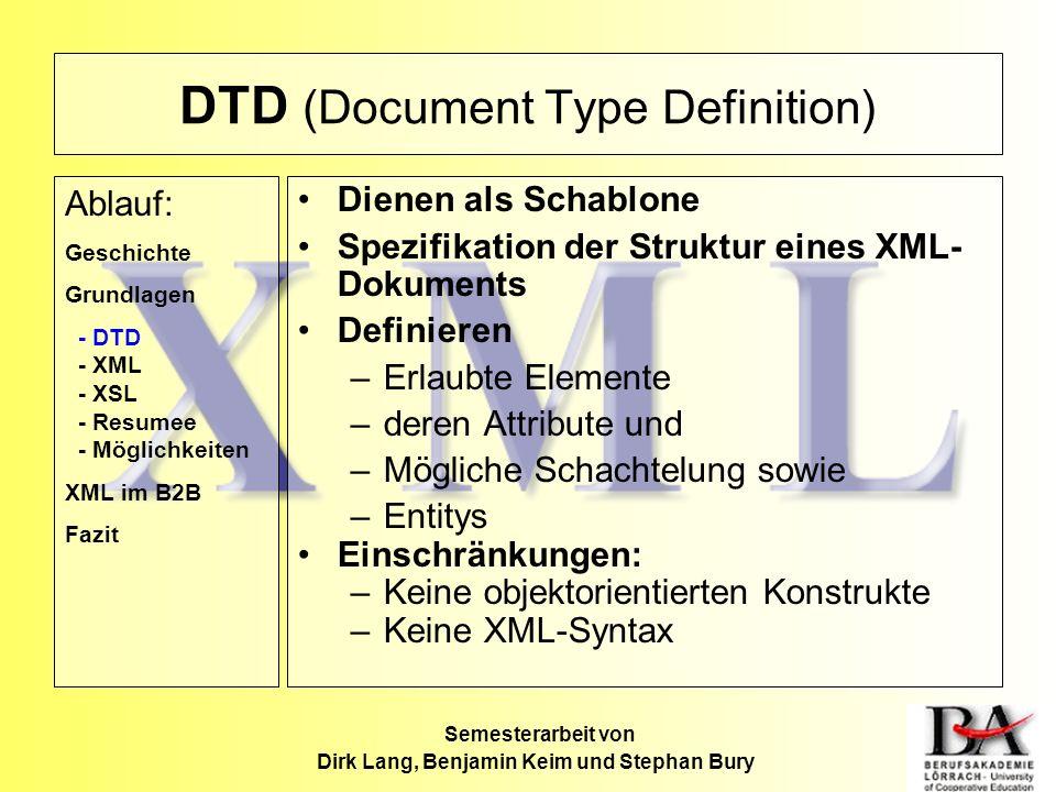 DTD (Document Type Definition) Dienen als Schablone Spezifikation der Struktur eines XML- Dokuments Definieren –Erlaubte Elemente –deren Attribute und