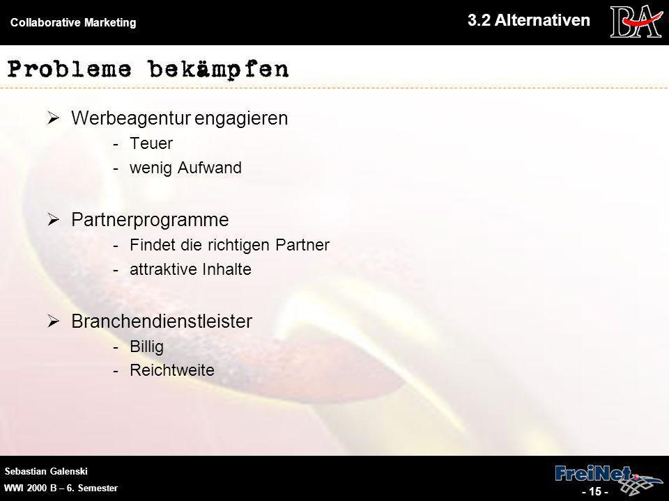 Sebastian Galenski WWI 2000 B – 6. Semester Collaborative Marketing - 15 - Probleme bekämpfen Werbeagentur engagieren -Teuer -wenig Aufwand Partnerpro