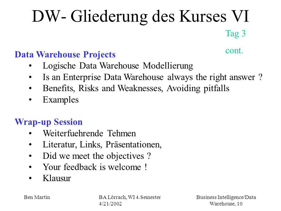 Business Intelligence/Data Warehouse, 10 Ben MartinBA Lörrach, WI 4.Semester 4/21/2002 DW- Gliederung des Kurses VI Tag 3 cont. Data Warehouse Project