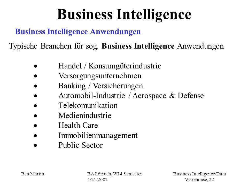 Business Intelligence/Data Warehouse, 22 Ben MartinBA Lörrach, WI 4.Semester 4/21/2002 Business Intelligence Business Intelligence Anwendungen Typisch