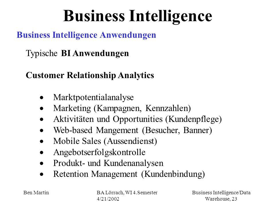 Business Intelligence/Data Warehouse, 23 Ben MartinBA Lörrach, WI 4.Semester 4/21/2002 Typische BI Anwendungen Customer Relationship Analytics Marktpo