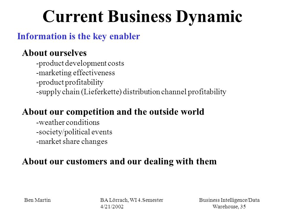 Business Intelligence/Data Warehouse, 35 Ben MartinBA Lörrach, WI 4.Semester 4/21/2002 Current Business Dynamic Information is the key enabler About o