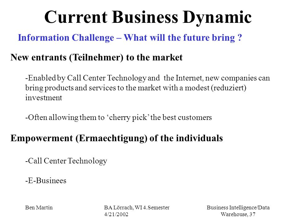 Business Intelligence/Data Warehouse, 37 Ben MartinBA Lörrach, WI 4.Semester 4/21/2002 New entrants (Teilnehmer) to the market -Enabled by Call Center