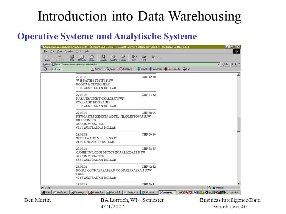 Business Intelligence/Data Warehouse, 40 Ben MartinBA Lörrach, WI 4.Semester 4/21/2002 Introduction into Data Warehousing Operative Systeme und Analyt