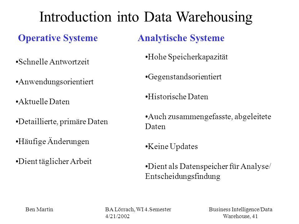 Business Intelligence/Data Warehouse, 41 Ben MartinBA Lörrach, WI 4.Semester 4/21/2002 Introduction into Data Warehousing Operative SystemeAnalytische