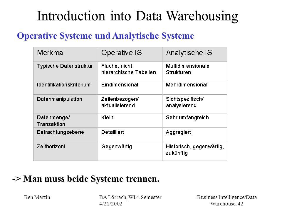 Business Intelligence/Data Warehouse, 42 Ben MartinBA Lörrach, WI 4.Semester 4/21/2002 Introduction into Data Warehousing Operative Systeme und Analyt
