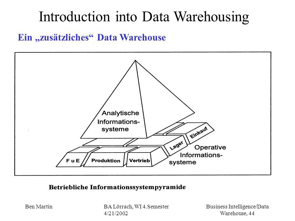 Business Intelligence/Data Warehouse, 44 Ben MartinBA Lörrach, WI 4.Semester 4/21/2002 Introduction into Data Warehousing Ein zusätzliches Data Wareho