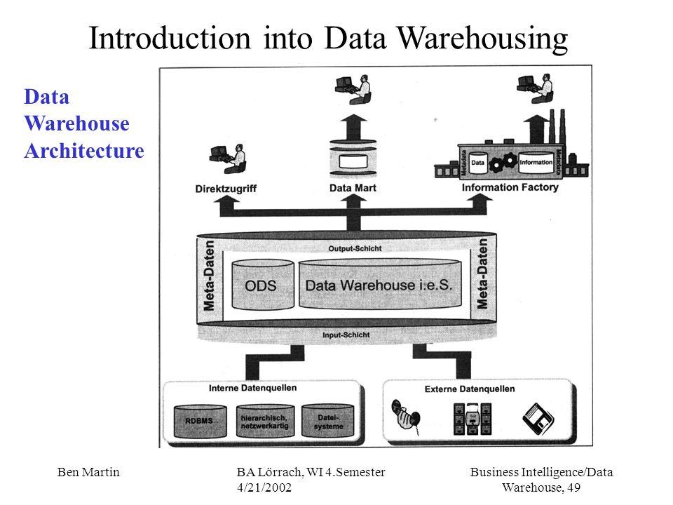 Business Intelligence/Data Warehouse, 49 Ben MartinBA Lörrach, WI 4.Semester 4/21/2002 Introduction into Data Warehousing Data Warehouse Architecture
