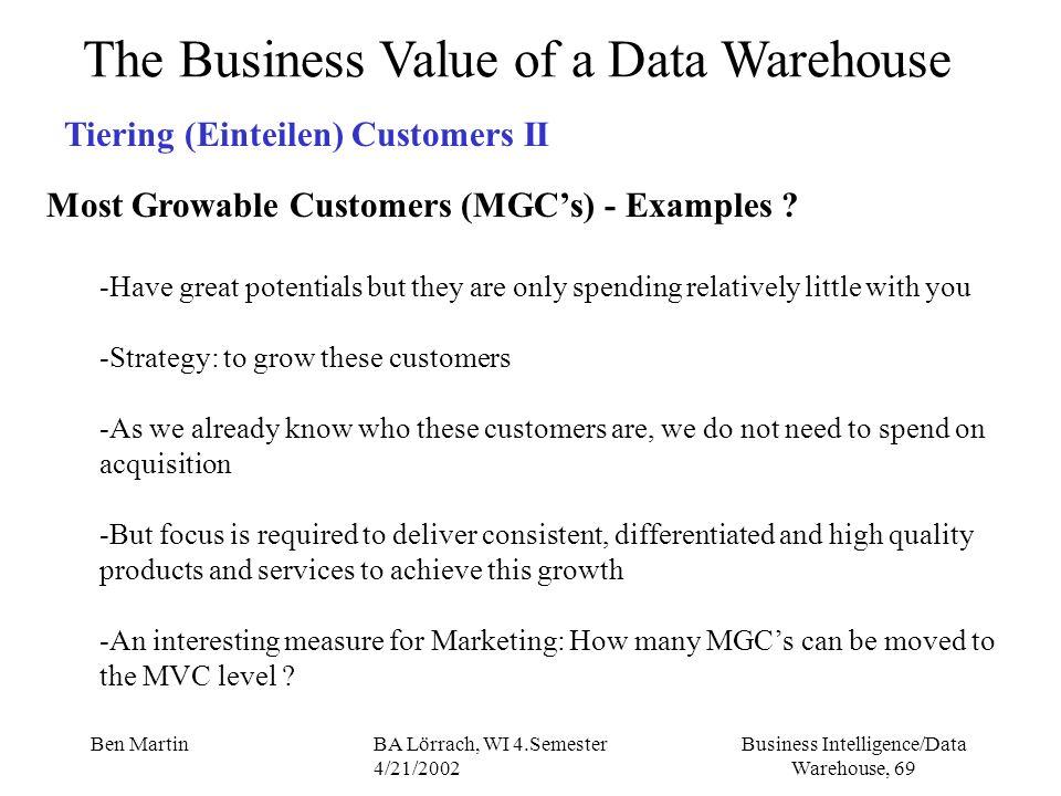 Business Intelligence/Data Warehouse, 69 Ben MartinBA Lörrach, WI 4.Semester 4/21/2002 The Business Value of a Data Warehouse Tiering (Einteilen) Cust
