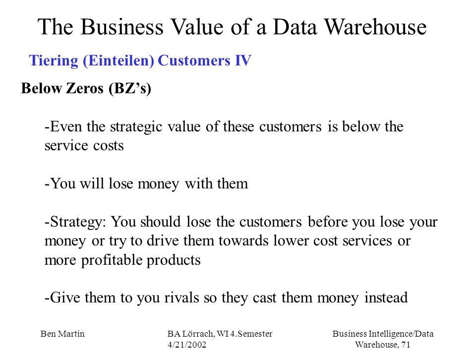 Business Intelligence/Data Warehouse, 71 Ben MartinBA Lörrach, WI 4.Semester 4/21/2002 The Business Value of a Data Warehouse Tiering (Einteilen) Cust