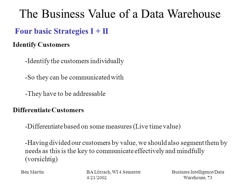 Business Intelligence/Data Warehouse, 73 Ben MartinBA Lörrach, WI 4.Semester 4/21/2002 The Business Value of a Data Warehouse Four basic Strategies I