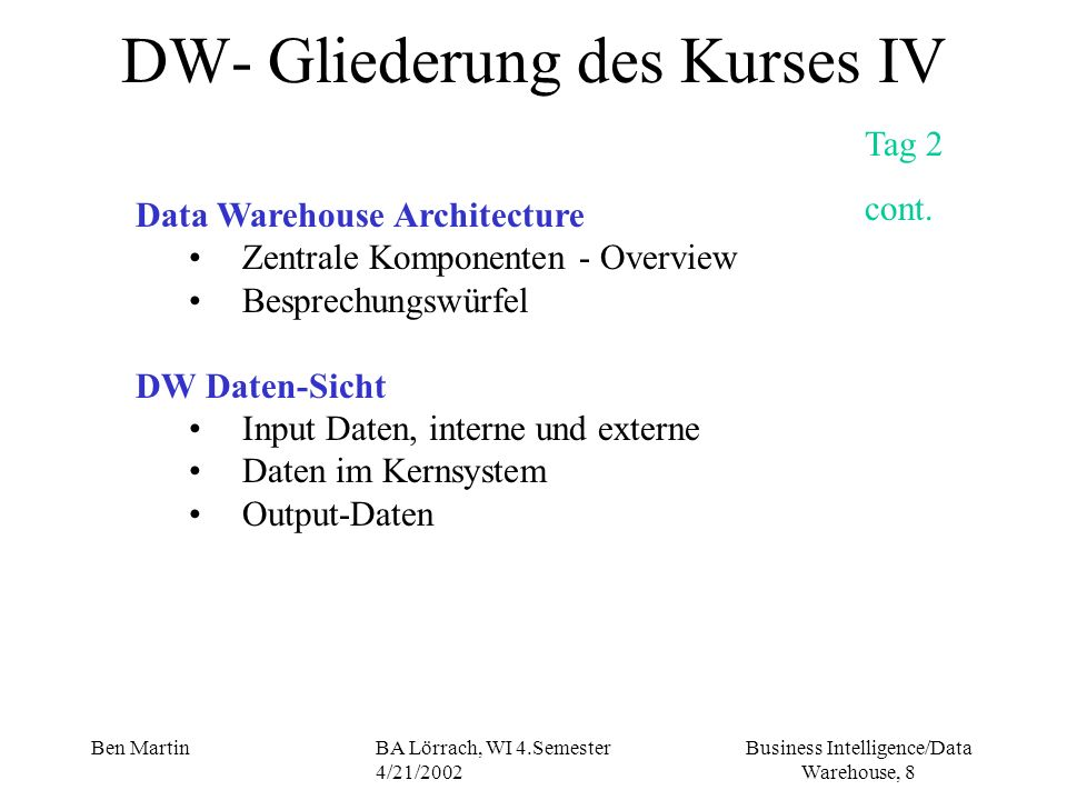 Business Intelligence/Data Warehouse, 29 Ben MartinBA Lörrach, WI 4.Semester 4/21/2002 Current Business Dynamic Innovation -the company must take the most of innovative ideas -and should nurture (erziehen,beguenstigen) innovators throughout (ueberall) the organization Efficiency (Effizienz) Quality -Poor quality products and services will churn (zum schaeumen bringen) customers faster then anything else Consequences for the Companies cont.