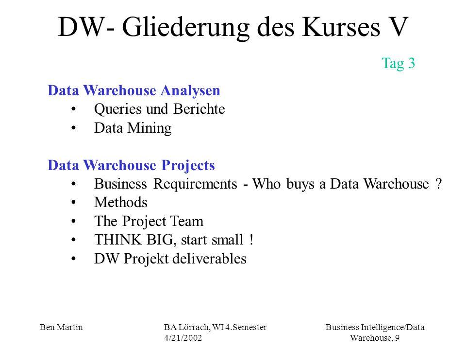 Business Intelligence/Data Warehouse, 9 Ben MartinBA Lörrach, WI 4.Semester 4/21/2002 DW- Gliederung des Kurses V Tag 3 Data Warehouse Analysen Querie