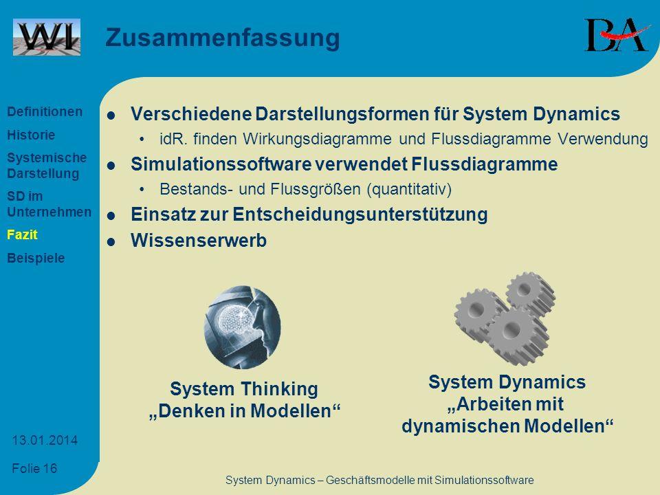 Folie 16 13.01.2014 System Dynamics – Geschäftsmodelle mit Simulationssoftware Zusammenfassung Verschiedene Darstellungsformen für System Dynamics idR