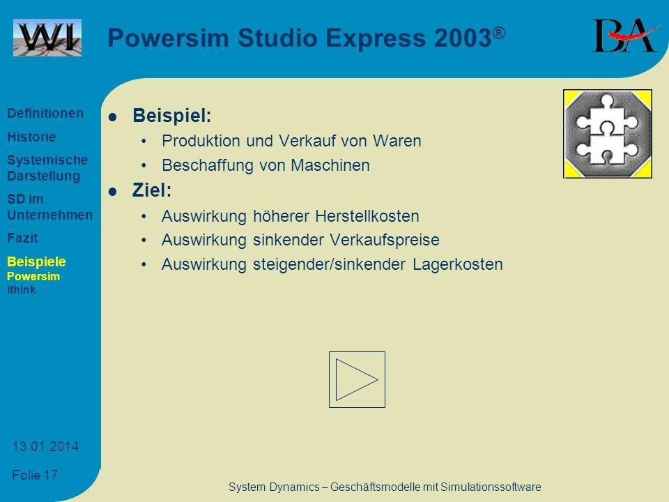 Folie 17 13.01.2014 System Dynamics – Geschäftsmodelle mit Simulationssoftware Powersim Studio Express 2003 ® Beispiel: Produktion und Verkauf von War